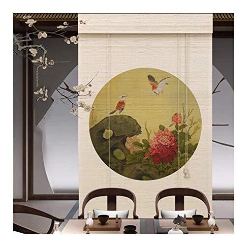 WJSW Vertikale Bambus Jalousien im chinesischen Stil Heimtextilien Rollladen Jalousien Bambus Vorhang Sichtschutz Fenster Jalousien Hebesystem, 2 Arten, anpassbare Größe