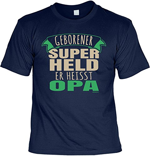 Geschenk für Opa T-Shirt Geborener Super Held er heisst Opa Geschenkidee Opa lustiges Shirt für Opa Vatertag Großvater Funshirt Navyblau