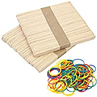 200 Pieces 115 x 11 mm Wooden Lollipop Craft Sticks Lolly Sticks Kids Crafts Models Lolly Plant Labels Natural Wood with Rubber Bands Mixed Color