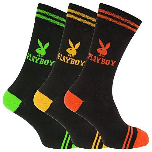 Playboy - Calzini Casual con logo ufficiale (1 paio) - Uomo (EU 39-45) (Verde/Giallo/Arancione)
