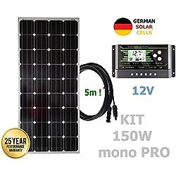 VIASOLAR Kit 150W Pro 12V Panel Solar monocristalino células alemanas