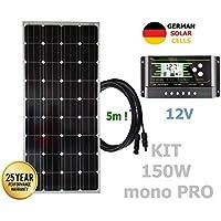 Kit 150W PRO 12V panel solar monocristalino células alemanas