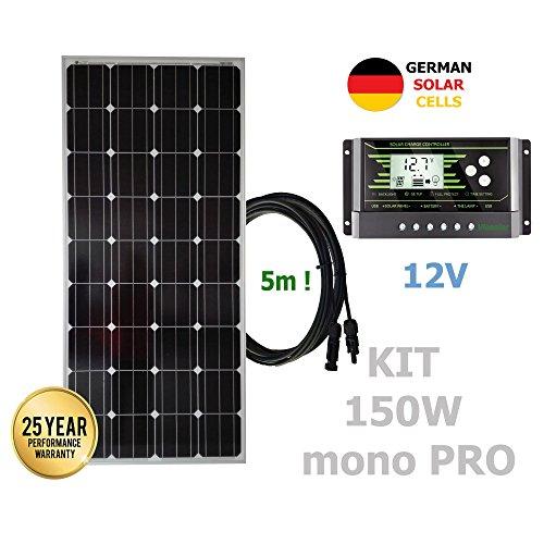Kit 150W PRO 12V panel solar monocristalino células alemanasComposición del Kit Solar:Panel solar monocristalino 150W 12V células alemanas cable 5mRegulador solar de 20A 12V/24V con display y 2 USB LCD VIASOLARKit panel solar portátil 100W 12VKit pan...