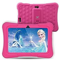 Idea Regalo - Dragon Touch Tablet per Bambini,7 Pollici,8G-32 GB,Controllo per Genitori,Touch Screen,2xTelecamere, Supporto di Gioco 3D, APP Cartone Libro Musica per Bambini, Android con Custodia Regolabile (Rosa)