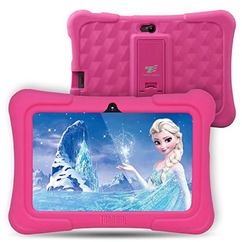 Dragon Touch Tablet per Bambini,7 Pollici,8G-32 GB,Controllo per Genitori,Touch Screen,2xTelecamere, Supporto di Gioco 3D, APP Cartone Libro Musica per Bambini, Android con Custodia Regolabile (Rosa)