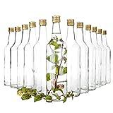 Van Well 12er Set Glasflaschen mit Schraubverschluss Venezia | befüllbare Flasche 1L für Likör, Schnaps & Bier