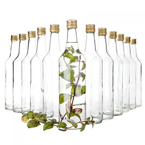 Van Well 12er Set Glasflaschen mit Schraubverschluss Venezia | befüllbare Flasche 1L für Likör, Schnaps & Bier -