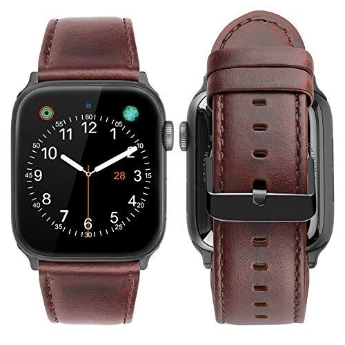 iBazal Armbänder Lederarmband Ersatz für iWatch Series 4 3 2 1 Armband 44mm 42mm Leder Uhrenarmband Ersatzarmband Lederband Uhrarmband Watchband Ersatzband Herren - Einzigartiges Rotbraunes 42/44 -