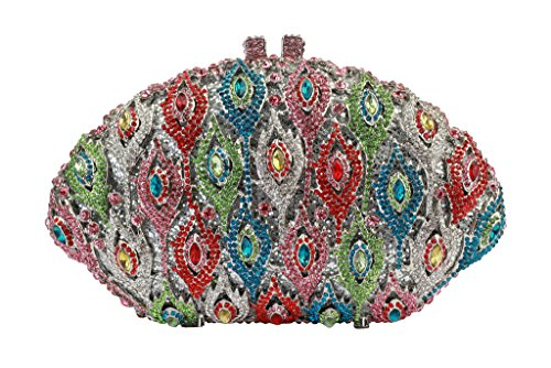 Yilongsheng femmes Shiny Fan en forme de strass mariage Embrayage Sacs multicolore