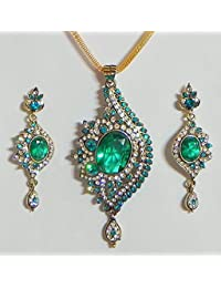DollsofIndia Cyan With White Stone Studded Pendant With Chain And Earrings - Stone And Metal (FS39-mod) - Blue