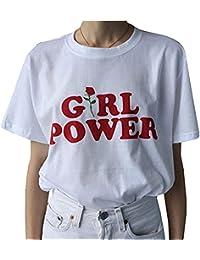 DANVOUY Las Mujeres Verano Casual Camiseta Gráfica Letras Impresas Top de Manga Corta Cuello Redondo