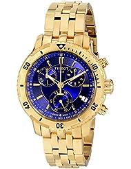 Tissot T0674173304100 - Reloj cronógrafo de caballero de cuarzo con correa de acero inoxidable dorada