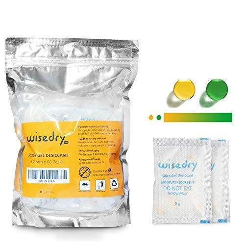5 Gramm [60 PACKS] Silicagel / Silicabeutel mit orange Korn-Feuchtigkeits-Indikator-Feuchtigkeits-Absorber für Lufttrockner-Feuchtigkeits-Abbau, Nahrungsmittelgrad