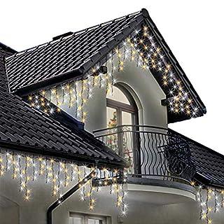 Lichterkette Eiszapfen 500 LED für Innen und Außen, helles weißes und warmes Weiß Baum Lichter, Länge 17.5m, Optional mit 8 Leuchtmodi/Memory/ Timer, Grünes Kabel - 2 Jahre Garantie