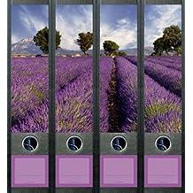 Wallario Ordnerrücken selbstklebend für 6 breite Ordner Lila Blumenfeld Lavendel