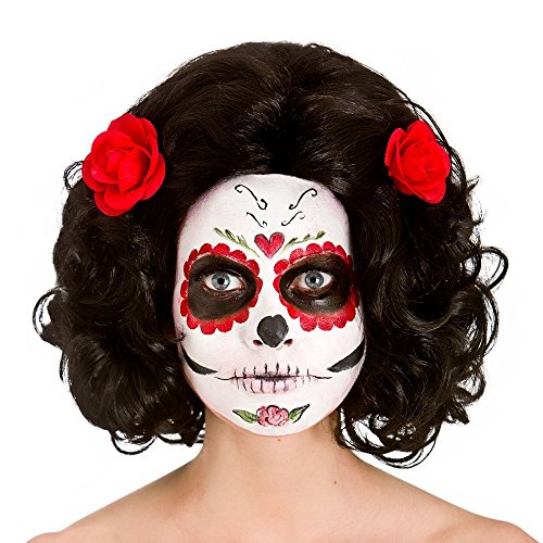 Damen Tag der Toten Senorita Perücke Halloween Fancy Dress Zubehör