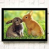 XWArtpic Schöne Haustier Wilde Kaninchen Blume Gras Niedlichen Häschen Ostern Cartoon Tier Kinderzimmer Wohnkultur Poster wandkunst leinwand malerei 30 * 40 cm