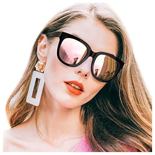 SIPHEW Sonnenbrille Damen Verspiegelt Anti Reflexbeschichtung-100% UVA/UVB Schutz Sonnenbrille Groß (M-Rosa Gold Linse)