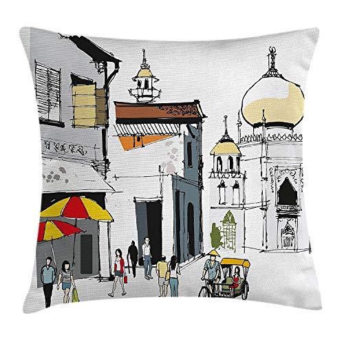 Federa per cuscino in stile asiatico, disegnata a mano con illustrazione antica singapore tradizionale edificio popolare, ombrelli da viaggio, federa decorativa quadrata, 45,7 x 45,7 cm, multicolore