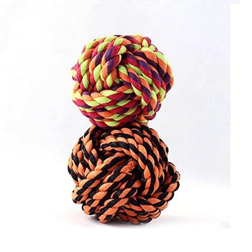 BADALink Massaggiagengive Giocattoli design Bone del cane del cotone Ropes corda intrecciata nodi Animali forma sferica Pet Dog Chew Toy Mordere dente pulito con una palla regalo (colore casuale)