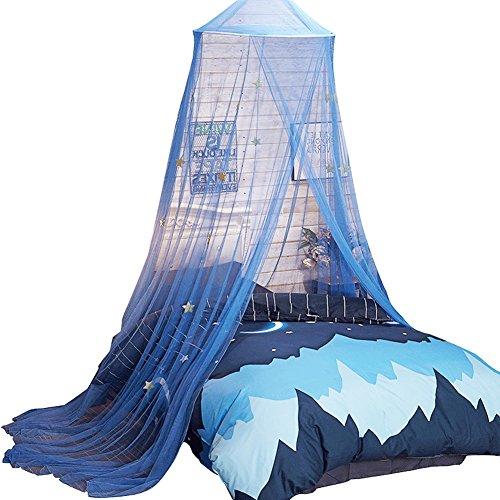 Uarter Boho Prinzessin Mädchen Moskitonetz Betthimmel Moskitonetz Bett konische Vorhänge Kinder spielen Zelt mit Sternen für Kinder, blau