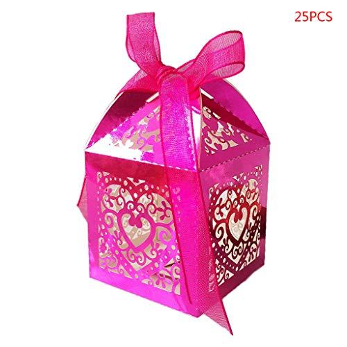 Folewr-8 Süßigkeitenschachteln - Laserhohl, für Hochzeit, Süßigkeiten, 4 Farben Rose VIF -