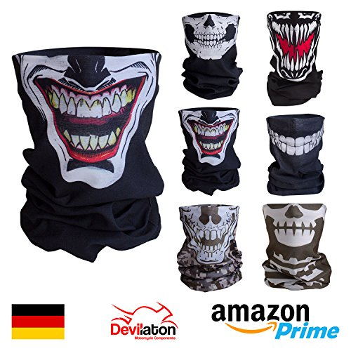 Qualitatives Multifunktionstuch / Motorrad Totenkopf Maske / Face Shield / Sturmmaske - fürs Fahrrad / Ski / Snowboard / Paintball / Klettern / Wandern - [Joker / schwarz]