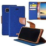 Coque Galaxy Note 8 Toile Flip Housse ,Cuir + toile + TPU ,4 emplacements pour carte ,Avec Fonction Stand ,Fermeture Magnétique pour Samsung (Galaxy Note 8, Bleu)