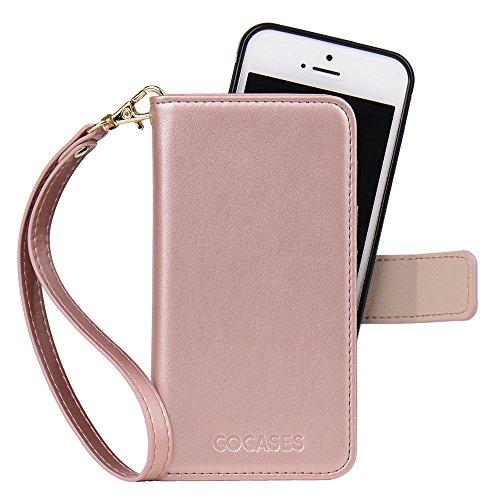 COCASES iPhone 5S Hülle, Multi-Funktion Schutzhülle, 2in1 Herausnehmbare Geldbörse Style Leder Tasche Handytasche mit Magnetverschluss für iPhone 5/5S/SE(Rosa Gold) (4 Wallet Iphone Etui Pink)