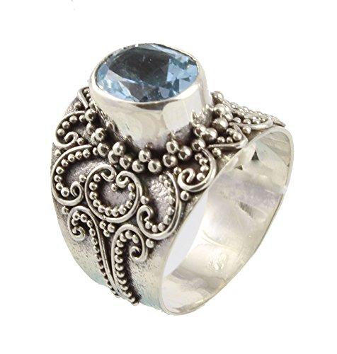 Shadi - Anillo étnico de plata de ley con un topacio azul facetado, 13,5 13,5 étnico (joyería de plata artesanal - regalo - mujer - hombre - Navidad - Reyes - cumpleaños)