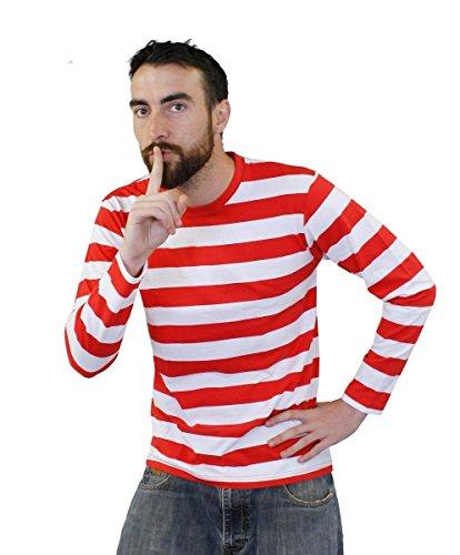 Kostüm Buch Comic Dress Fancy - ROT/Weiss GESTREIFTES T-Shirt=Lange ÄRMELN=ZUBEHÖR FÜR Jede Art DER Film ODER BUCHWOCHEN VERKLEIDUNG ODER Fasching UND Karneval = 100%Baumwolle = IN 5 VERSCHIEDENEN GRÖSSEN = Large