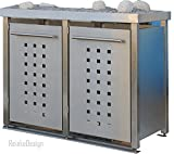 Reinkedesign Mülltonnenbox aus Edelstahl mit Pflanzenwanne 2x120l