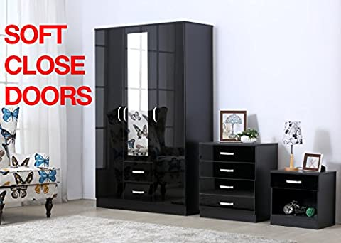 Gladini XL High Gloss 3 Door 3 Piece Trio Bedroom Furniture Set - Includes Wardrobe, 4 Drawer Chest, Bedside Cabinet (Black)