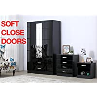 Gladini XL High Gloss 3 Door 3 Piece Trio Bedroom Furniture Set - Includes Wardrobe, 4 Drawer Chest, Bedside Cabinet (Black) (Black)