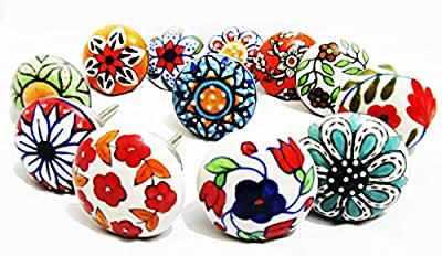 10 x Mix Vintage Look Flower Ceramic Knobs Door Handle Cabinet Drawer Cupboard Pull