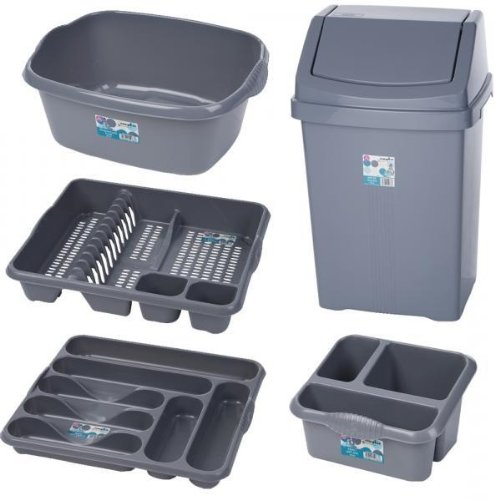50 L LITRE SWING WASTE RUBBISH BIN SILVER GREY DISH DRAINER CUTLERY TRAY SINK TIDY WASHING UP BOWL