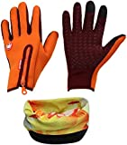 Eizur Windproof Cycling Gloves Skidproof Touchscreen Sports Gloves+Magic Scarf, Unisex Winter Outdoor Thermal Full Finger Gloves for Cycling Skiing Hiking Hunting Climbing Camping for Men Women