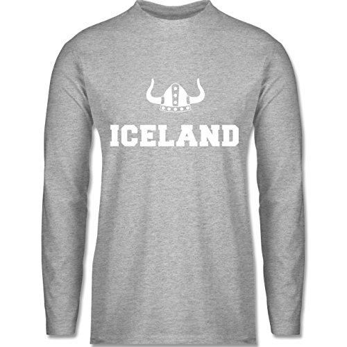 Shirtracer Länder - Iceland + Wikingerhelm - Herren Langarmshirt Grau Meliert