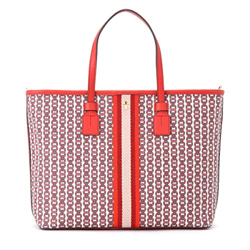 Tory Burch Borsa a spalla Gemini Link in canvas rosso multicolor stampa catene