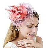JaosWish tulle piuma fascinator archetto netto fiore hairclip per cocktail partito Royal Ascot Wedding Hat rosa