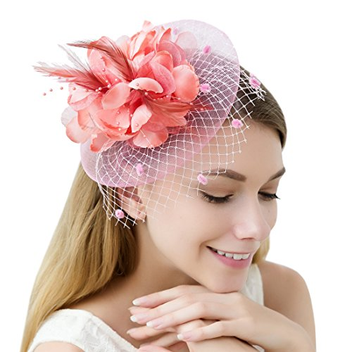 JaosWish Tulle Feather Fascinator Stirnband Netz Blume Hairclip für Cocktail Party Royal Ascot Hochzeit Hut (Top Teen Kostüme Halloween)