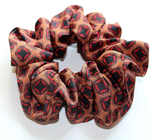 Haargummi Seide Kollektion Geometric Muster braun/schwarz rot Seidenhaargummi scrunchie Haar-Accessoire Frauen Mädchen Stoff designer scrunchie - einzigartiges & maß -