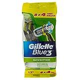 Gillette Blue 3 Sensitive Rasoi Usa & Getta - 8 + 4 Rasoi
