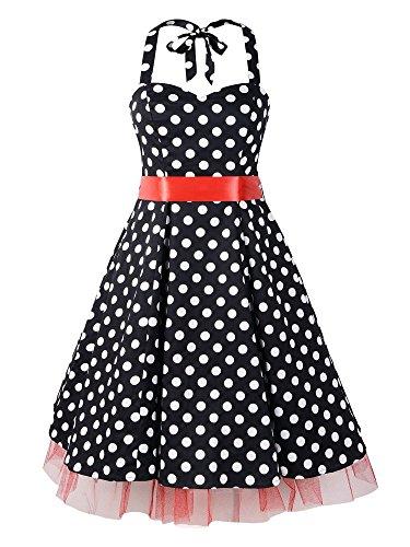 LUOUSE 'Rhya' Vintage Serenity Kleid im 50er-Jahre-Stil,BlackRed,XL
