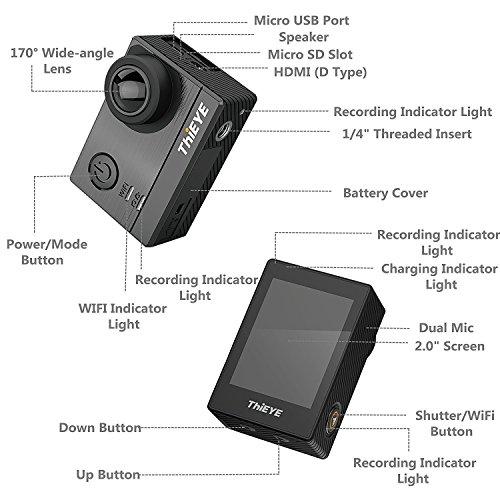 """Thieye T5e 4K Action Kamera WIFI Sport Action Cam 16MP Foto Ultra HD 2,0""""LCD Display 170° Weitwinkel 60m Wasserdicht 360 Grad drehbare Buckle Helmkamera Wasserdicht für Motorrad Fahrrad Reiten und Zubehör Kits mit 2 Verbesserten Batterien - 5"""