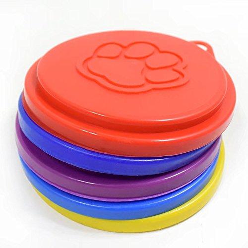 Doyeemei Dosendeckel, wiederverwendbar, 3-in-1, für Futter von Haustieren, Hunden, Katzen,zur Futteraufbewahrung, Dosendeckel, Kappe, mit Pfotenabdruck-Design, zufällige Auswahl