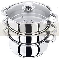 3-teiliges Dampfgarer-Set aus Edelstahl, Kochtopf mit Glasdeckel, Küchenware
