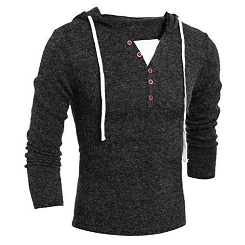 Xinan Herren Hoodie Herbst Winter Männer Mode Kapuzen Pullover Top Bluse (XL, Dunkelgrau)