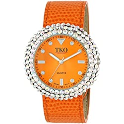 TKO ORLOGI Women's TK618OR Leather Orange Crystal Slap Watch