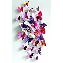FiveSeasonStufff 24 Piezas Mezcla Rosado y Púrpura 3D Mariposas Adhesivos Colección / 3D Efecto Mariposas Pegatinas con Imán y Masilla para el Refrigerador y la Pared Decoración / Anualidades Bricolaje
